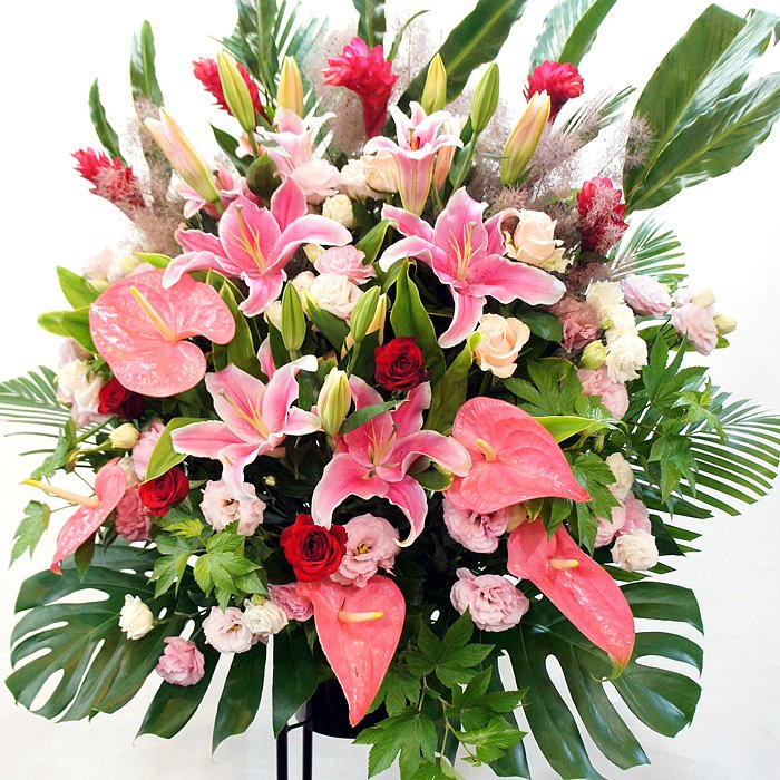 人気の色合い!ピンクレッドのスタンド花 ep-001