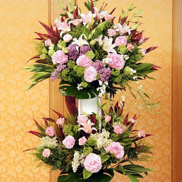 rp-007 コーラルピンクの優しい雰囲気なスタンド花 - スタンド花なら勝ち花.com