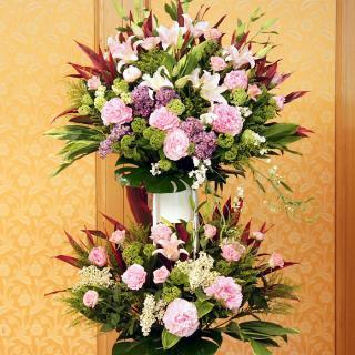rp-007 コーラルピンクの優しい雰囲気なスタンド花