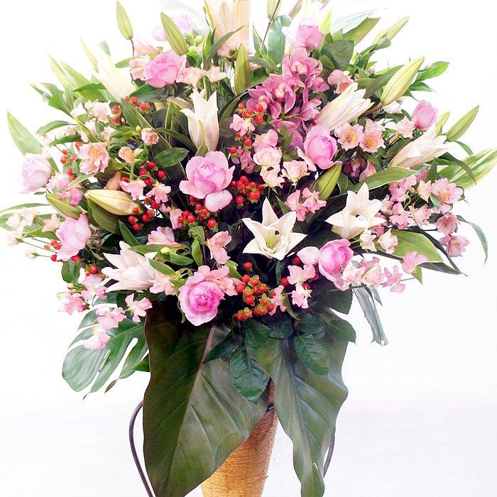 rp-010 ピンク系百合とピンクバラのスタンダードなスタンド花 - スタンド花なら勝ち花.com