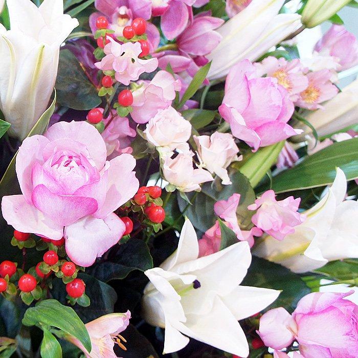 rp-010 ピンク系百合とピンクバラのスタンダードなスタンド花