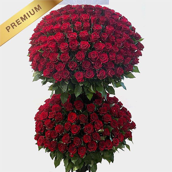 赤いバラ(薔薇)300本のスタンド花 300ROSES - スタンド花なら勝ち花.com