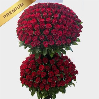 赤いバラ(薔薇)300本のスタンド花 300ROSES