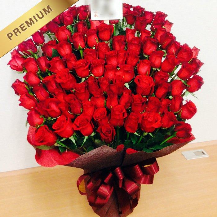 赤いバラ(薔薇)100本のスタンド花 100ROSES - スタンド花なら勝ち花.com