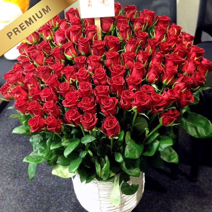 赤いバラ(薔薇)100本のスタンド花 100ROSES