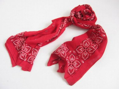 60's ビンテージ USA製 バンダナ スカーフ ストール赤系B/D106