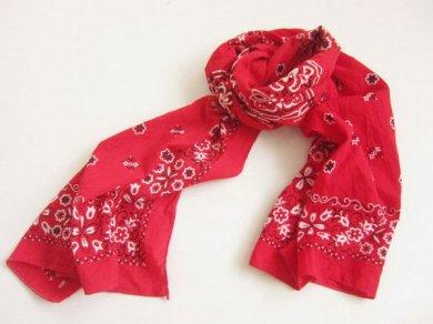 ビンテージ USA製 バンダナ スカーフ ストール 赤系/D105