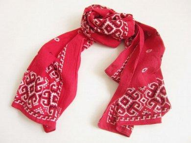 ビンテージ USA製 バンダナ スカーフ ストール 赤系/D104
