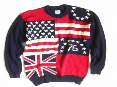 USA製 ケンブリッジ クラシックス/国旗セーター/星条旗/ユニオンジャック/D124