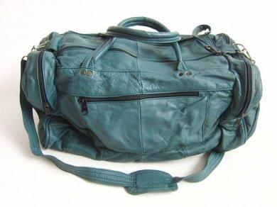 ビンテージ/レザー/ボストンバッグ/青緑系/本革/旅行鞄/D124