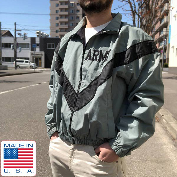 USA製/実物/米軍/US ARMY/IPFU/ナイロン/トレーニング ジャケット/グレー系【S-S】ウィンドブレーカー/D129