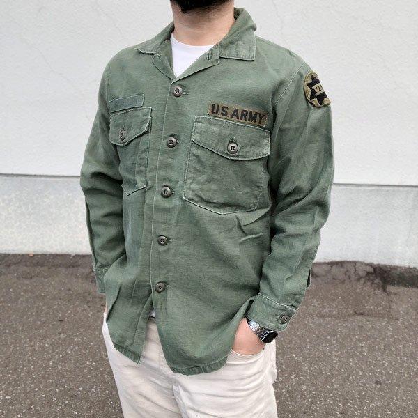 70's/米軍/US ARMY/ユーティリティ シャツ【S程度】コットンサテン/OG 107/アーミーシャツ/ミリタリーシャツ/ビンテージ/D130