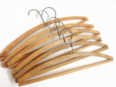 ビンテージ 木製 ウッド ハンガー 6本セット/店舗什器D123