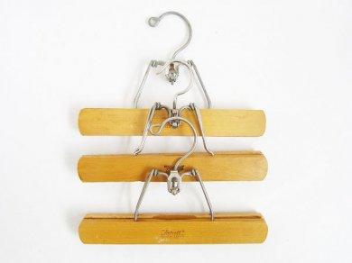 アンティークSetwell木製 ウッドハンガー パンツ用3本セット/D125