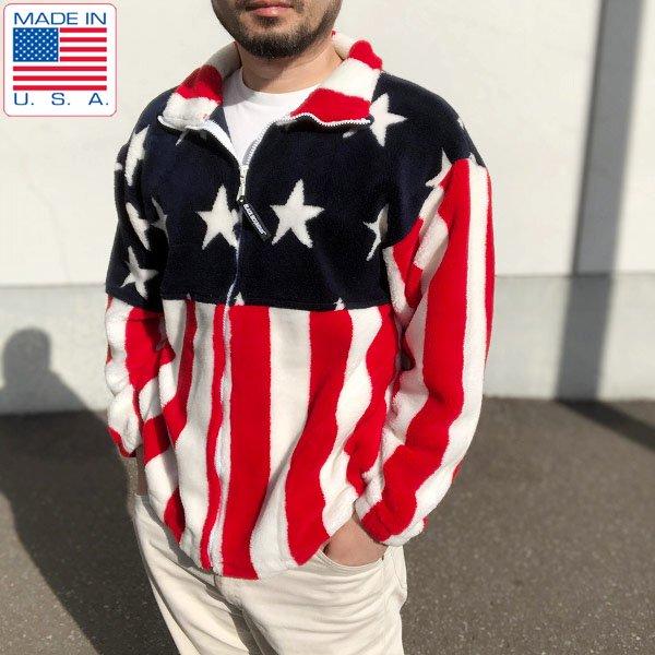 USA製/BLACK MOUNTAIN/星条旗/フルジップ/フリース ジャケット【S】アメリカ国旗/アメリカ製/D131