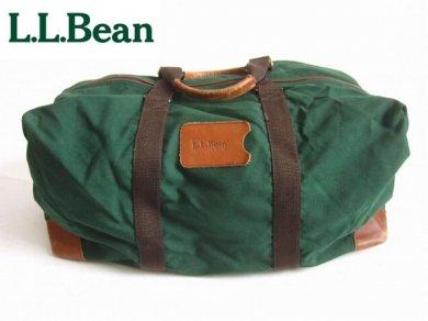 L.L.Bean/ナイロン×レザー/ボストンバッグ/緑系/LLビーン/エルエルビーン/D132