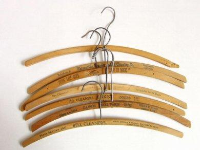 ビンテージ/木製 ウッド ハンガー/7本セット/刻印/店舗什器/アンティーク/D135