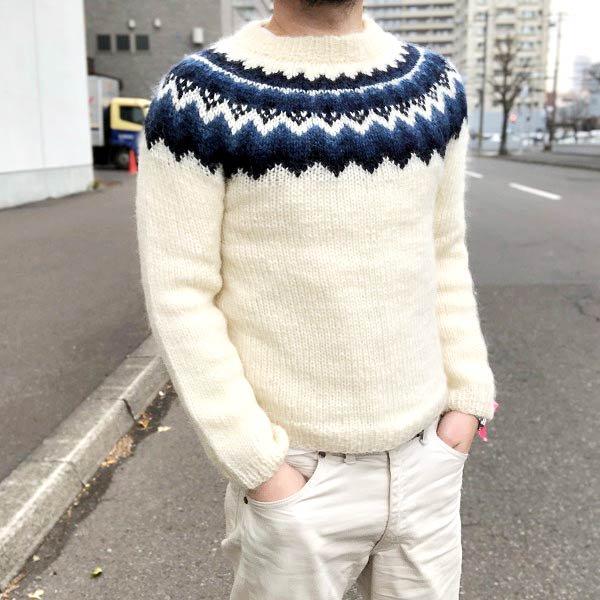 アイスランドセーター/白系【メンズXS程度】ロピーセーター/ハンドメイド/ハンドニット/ノルディックセーター/D132