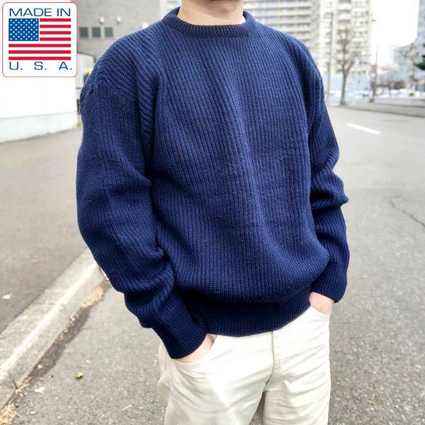 USA製/LORD JEFF/畦編み/ウール/セーター/紺系【L】アメリカ製/フィッシャーマンセーター/アランニット/アランセーター/D132