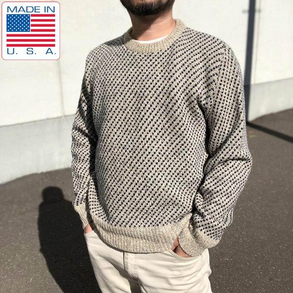 USA製/バーズアイ/セーター【L】PECONIC BAY TRADERS/クルーネック/アメリカ製/米国製/メンズ/ニット/D132