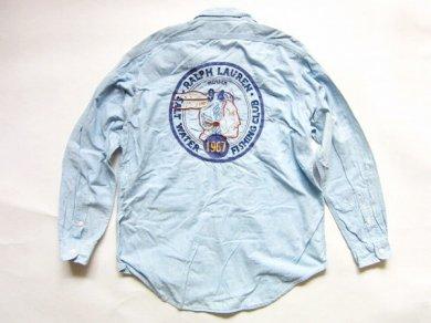 《超希少》【Polo】90's/ポロ ラルフローレン/インディアンヘッド/チェーンステッチ刺繍/シャンブレーシャツ【L】ビンテージ/D136W