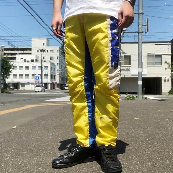 ビンテージ/answer products/ナイロン/モトクロスパンツ【32】黄色系×青系/メンズ/レーシングパンツ/D136