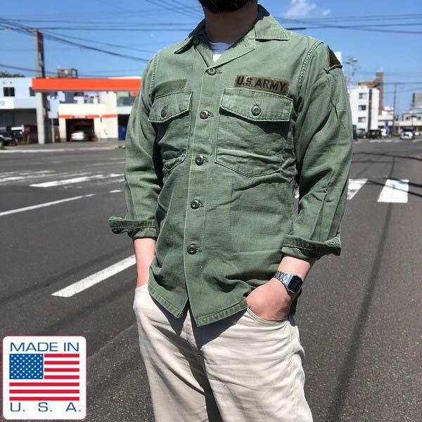 70's/米軍/US ARMY/コットンサテン/ユーティリティ シャツ【14-1/2】OG 107/アーミーシャツ/ミリタリーシャツ/ビンテージ/D136
