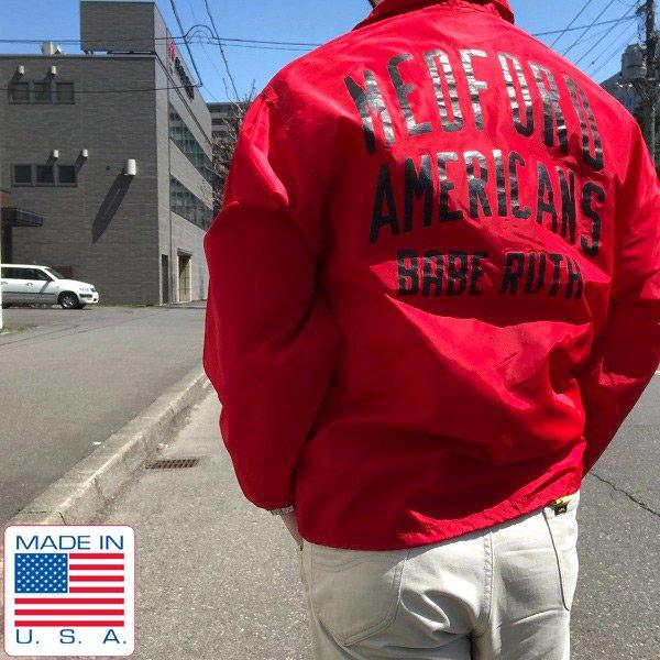 80's/USA製/Pla-Jac/背面3段プリント/コーチジャケット/赤系【M】ナイロンジャケット/アメリカ製/ベーブ ルース/ビンテージ/D137