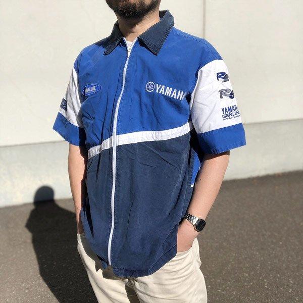 YAMAHA/ヤマハ/フルジップ/コットン/半袖シャツ/青系×紺系【M】企業物/レーシングシャツ/アドバタイジング/D137