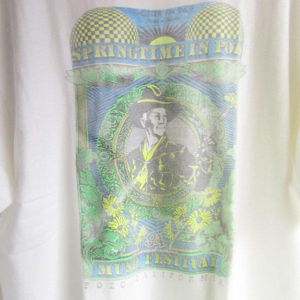 90's/POZO MUSIC FESTIVAL/半袖Tシャツ/白系【L程度】丸首/丸胴/ビッグシルエット/古着/極彩色プリント/ビンテージ/D137
