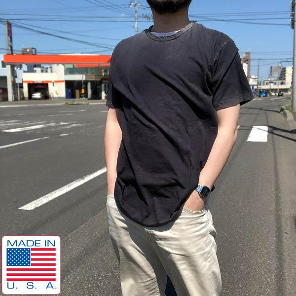 新品/USA製/WQ PREMIUM/Tシャツ/コットン/墨黒【M】ビンテージ加工/製品染め/無地/丸首/バインダーネック/D127