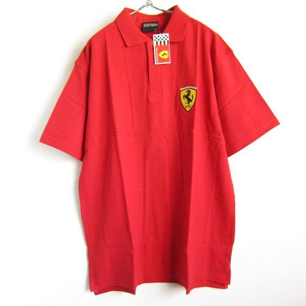新品/Ferrari/フェラーリ/コットン/半袖/ポロシャツ/赤系【XL】企業物/アドバタイジング/オフィシャル/デッドストック/D138