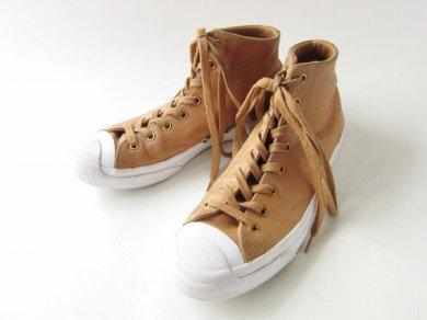 【CONVERSE】コンバース/ジャックパーセル/ミッドカット/レザー/スニーカー/茶系【US6.5/24.5cm】ブーツ/D139
