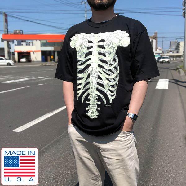 美品/90's/USA製/骨格プリント/Tシャツ/黒【XL】だまし絵/BELTON/丸胴/丸首/クルーネック/アメリカ製/米国製/ビンテージ/D136