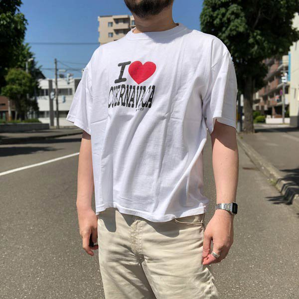 アイ・ラブ・CUERNAVACA/Tシャツ/白系【L】丸首/クルーネック/丸胴/メキシコ製/ビッグシルエット/D137