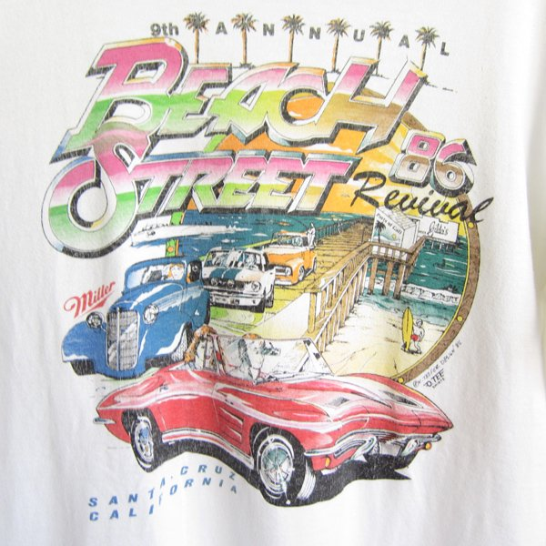 80's/USA製/クラシックカー/プリント/半袖/コットン/Tシャツ/白系【L】丸胴/ SANTA CRUZ/beach street Revival/ビンテージ/D139