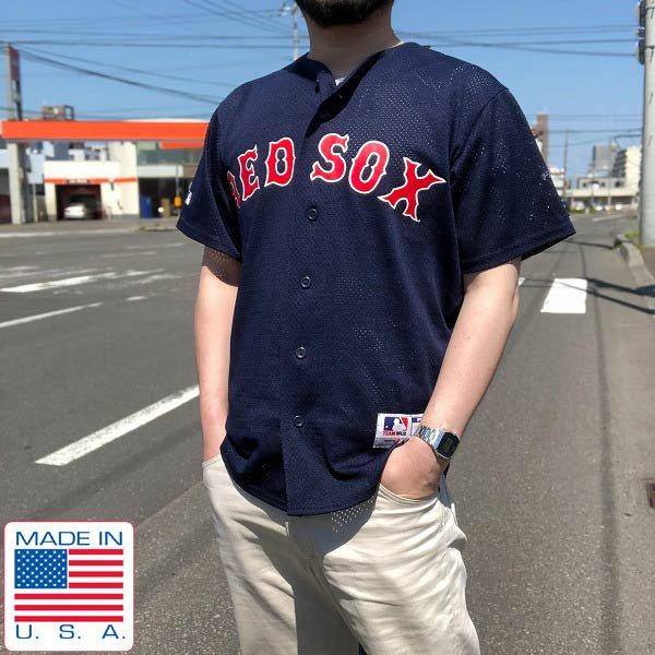 USA製/RED SOX/メジャーリーグ/半袖/メッシュ/ベースボールシャツ/紺系【S】ユニフォーム/レプリカ/MLB×Majestic/D138