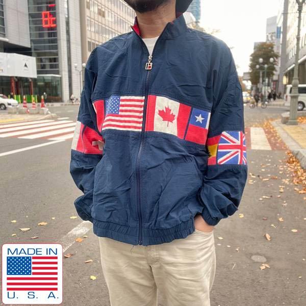 80's/90's/USA製/国旗柄/ウィンドブレーカー/紺系【XL】ナイロンジャケット/星条旗/日の丸/日本/ビンテージ/D139