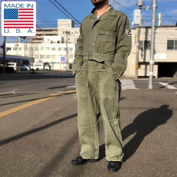 40's〜50's/米軍/実物/HBT/つなぎ【38L】緑系/オールインワン/ヘリンボーンツイル/ビンテージ/D139