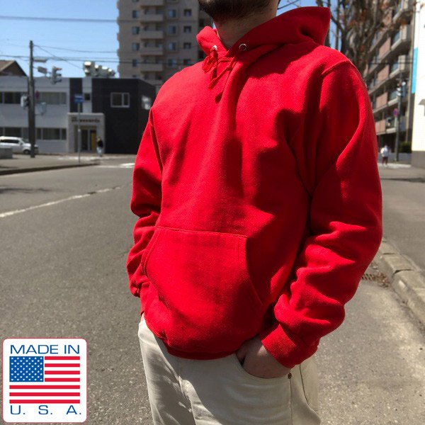 90's/USA製/刺繍タグ/チャンピオン/無地/スウェットパーカー/赤系【L】プルオーバー/トレーナー/アメリカ製/ビンテージ/D140