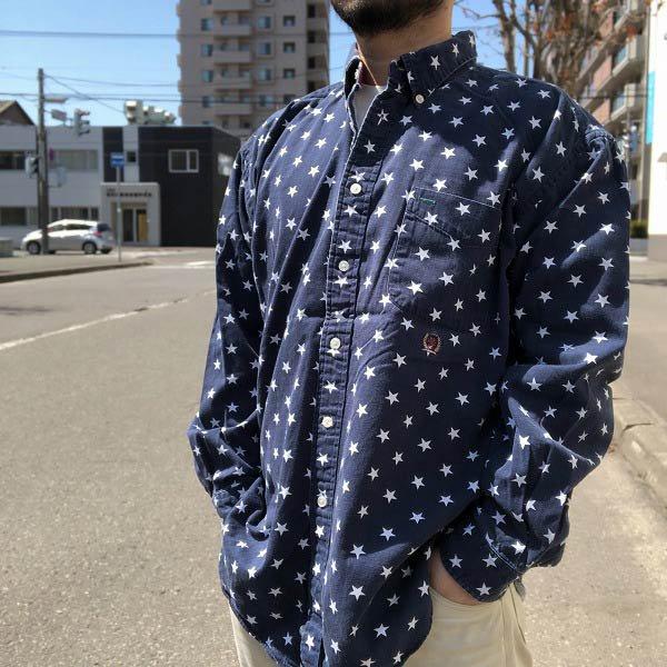 TOMMY HILFIGER/トミーヒルフィガー/星柄/長袖/ボタンダウンシャツ/紺系×白【XL】BDシャツ/古着/D140