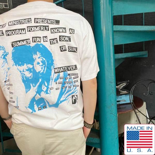90's/USA製/アメリカ企業物/AMOR MINISTRIES/半袖Tシャツ/白【XL】イベントプログラム/丸胴/丸首/1995/90年代/ビンテージ/D140