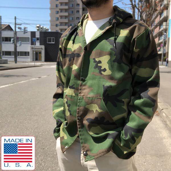 USA製/90's/sno king/迷彩柄/フード/ジャケット【M】フーディ/パーカー/ウッドランド カモ/メンズ/古着/アメリカ製/米国製/D141