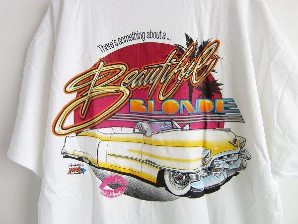 新品/90's/ANDY'S/クラシックカープリント/半袖Tシャツ/白【L】デッドストック/車/ホットロッド/100%コットン/丸胴/D141
