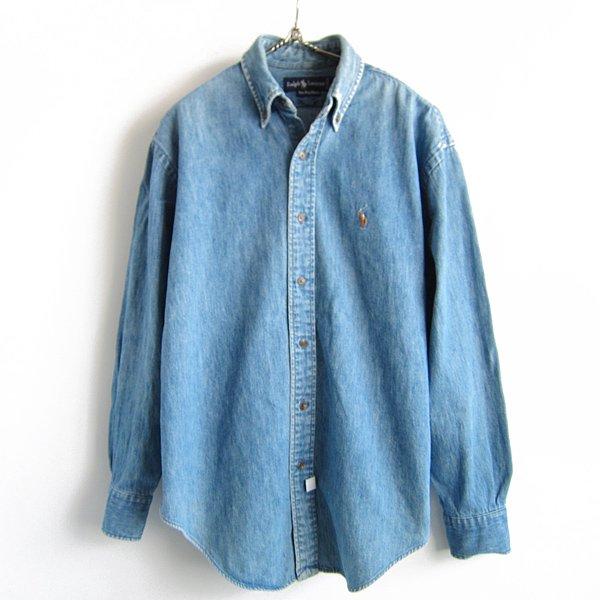 Polo/ポロ/ラルフローレン/デニム/ボタンダウンシャツ【メンズS程度】BDシャツ/古着/D142