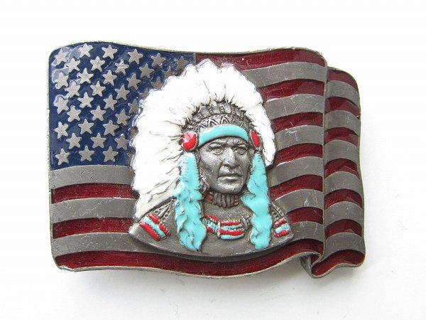 USA製/ネイティブアメリカン/星条旗/インディアンヘッド/バックル/ベルト用/インディアン/BUCKLES OF AMERICA/ビンテージ/D142