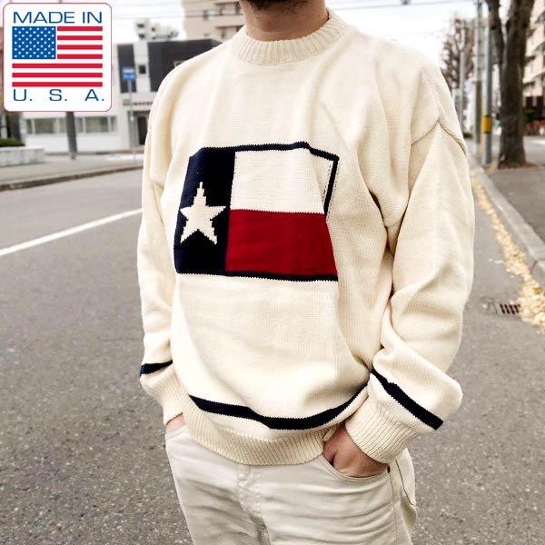 新品/USA製/OLD GLORY/テキサス州旗柄/セーター/白系【L】コットン/ニット/ビッグシルエット/アメリカ製/デッドストック/D139