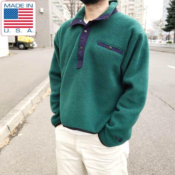 USA製/90's/ノースフェイス/プルオーバー/フリース/ジャケット【M】緑系/THE NORTH FACE/アメリカ製/ビンテージ/D138