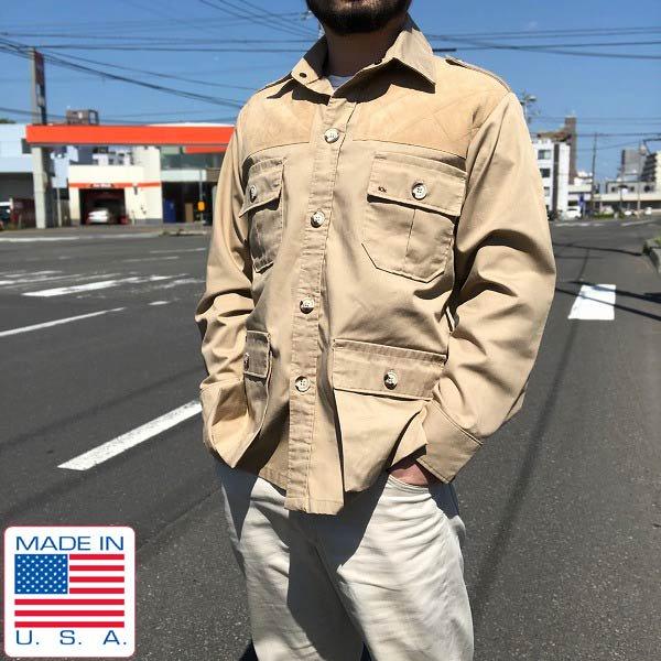 USA製/10X/サファリジャケット【S】テンエックス/ベージュ系/アメリカ製/米国製/ビンテージ/D131