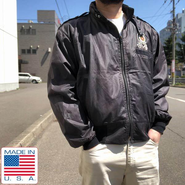 80's/USA製/CADILLAC CRAFTSMAN/レーシングジャケット/黒【メンズL程度】キャデラック/ウィンドブレーカー/ビンテージ/D142